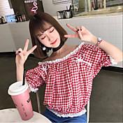 レディース カジュアル/普段着 シャツ,シンプル ボートネック チェック コットン 半袖