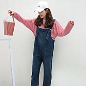 Mujer Adorable Sencillo Tiro Medio Inelástica Mono Pantalones,Corte Ancho Un Color