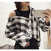 Mujer Simple Casual/Diario Camiseta,Escote Redondo A Rayas Manga Larga Otro