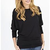 Mujer Simple Casual/Diario Camiseta,Escote Redondo Un Color Manga Larga Algodón Fibra de bambú