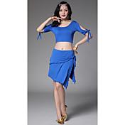 Danza del Vientre Accesorios Mujer Entrenamiento Modal Cordones 2 Piezas Mangas cortas Cintura Baja Faldas Tops