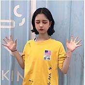 Mujer Bonito Casual/Diario Camiseta,Escote Redondo Un Color Manga Corta Algodón