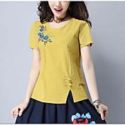 レディース カジュアル/普段着 夏 Tシャツ,シンプル ラウンドネック ソリッド プリント コットン 半袖 薄手