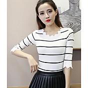 Mujer Simple Casual/Diario Primavera Verano Camiseta,Escote Redondo A Rayas 1/2 Manga Otro Fino