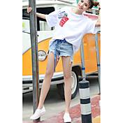 レディース カジュアル/普段着 Tシャツ,シンプル ラウンドネック ソリッド コットン 半袖