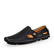 Masculino Sandálias Conforto Solados com Luzes Couro Primavera Verão Casual Caminhada Conforto Solados com Luzes Velcro RasteiroBranco