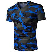 メンズ カジュアル/普段着 夏 Tシャツ,シンプル 活発的 Vネック プリント カモフラージュ コットン 半袖 薄手