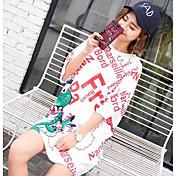 Mujer Bonito Camiseta,Escote Redondo Un Color Manga Corta Algodón