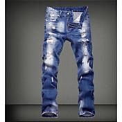 Hombre Chic de Calle Tiro Medio Microelástico Vaqueros Pantalones,Corte Ancho Un Color