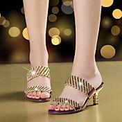 Mujer Sandalias Microfibra Verano Otoño Paseo Pedrería Purpurina Tacón Stiletto Dorado Negro Morado 5 - 7 cms