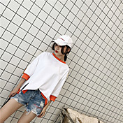 Mujer Simple Casual/Diario Camiseta,Escote Redondo Bloques 3/4 Manga Algodón