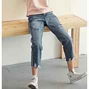 Mujer Sencillo Tiro Medio Microelástico Corte Ancho Vaqueros Pantalones,Corte Recto Un Color