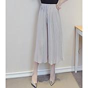 Mujer Boho Tiro Medio Eslático Chinos Pantalones,Perneras anchas Un Color