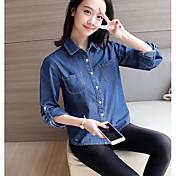 Mujer Simple Casual/Diario Verano Camisa,Escote Chino Un Color Manga Larga Algodón