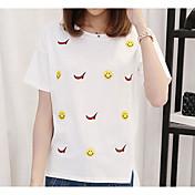 Mujer Simple Casual/Diario Verano Camiseta,Escote Redondo Un Color Manga Corta Algodón