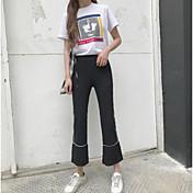 レディース ストリートファッション ミッドライズ ワイドレッグ マイクロエラスティック ルーズ ワイドレッグ パンツ ゼブラプリント