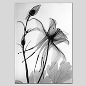 手描きの 花柄/植物の 縦パノラマ,クラシック Modern 1枚 キャンバス ハング塗装油絵 For ホームデコレーション