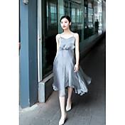 Mujer Corte Swing Vestido Casual/Diario Simple,Un Color Escote en Pico Midi Sin Mangas Algodón Verano Tiro Alto Microelástico Medio