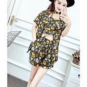 Mujer Casual Casual/Diario Verano T-Shirt Pantalón Trajes,Escote Redondo Floral Estampado Manga Corta Microelástico