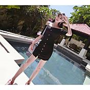 Mujer Casual Diario Casual Verano T-Shirt Falda Trajes,Escote Barco Un Color Manga 1/2 Microelástico