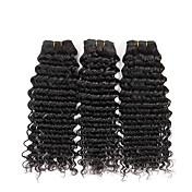 人間の髪編む マレーシアンヘア ウェーブ 6ヶ月 3個 ヘア織り