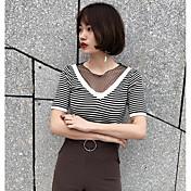 Mujer Regular Pullover Casual/Diario Un Color Escote Redondo Manga Corta Algodón Verano Medio Microelástico