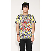 Hombre Simple Chic de Calle Activo Noche Casual/Diario Verano Camiseta,Escote Redondo camuflaje Manga Corta Algodón Medio