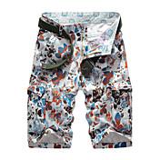 Hombre Sencillo Tiro Medio Microelástico Chinos Shorts Pantalones,Corte Recto Floral Azulejo Estampado Color puro