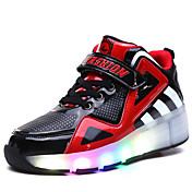 子供用 男の子 スケートシューズ LEDライト 高通気性 調整可能 ブルー/ホワイト/ブラック/ルビーレッド