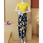 Mujer Simple Casual Verano T-Shirt Pantalón Trajes,Escote Redondo Floral Manga Corta Microelástico