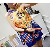 Mujer Bonito Noche Verano T-Shirt Pantalón Trajes,Escote Redondo Floral Manga Corta Peplum Microelástico