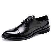 Hombre Zapatos Cuero real Cuero Primavera Otoño Zapatos formales Zapatos de boda Para Negro
