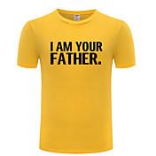 Masculino Camiseta Casual Simples Letra Algodão Decote Redondo Manga Curta