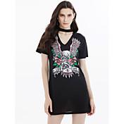 Mujer Camiseta Vestido Festivos Noche Casual/Diario Simple Bonito Chic de Calle,Búho Escote en Pico Sobre la rodilla Manga Corta Algodón