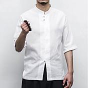 Hombre Simple Casual/Diario Trabajo Camisa,Escote Chino Un Color Media Manga Algodón Lino Otro