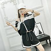 Mujer Casual Casual Deportes Primavera Verano Sudadera Pantalón Trajes,Escote Chino Negro y Blanco Manga Corta Inelástica