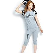 Mujer Simple Deportes Verano Sudadera Pantalón Trajes,Escote Redondo Letra Manga Corta Microelástico