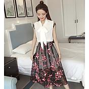 Mujer Simple Casual Verano Camisas Falda Trajes,Cuello Camisero Floral Sin Mangas Microelástico