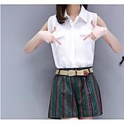 Mujer Formal A Rayas Brillante Casual Vestido Primavera Verano T-Shirt Falda Trajes,Cuello Camisero Un Color A Rayas Con TexturasManga