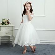 una línea de longitud de té vestido de niña de flores - satén red sin mangas de hombro con rebordear por yiranmei
