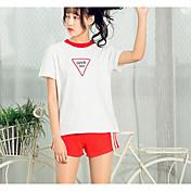 Mujer Casual Casual/Diario Ropa Deportiva Verano T-Shirt Pantalón Trajes,Escote Redondo Estampado Retazos Manga Corta