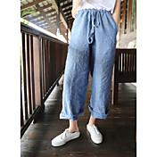 Mujer Sencillo Tiro Medio Inelástica Corte Ancho Perneras anchas Pantalones,Corte Recto Holgado Un Color