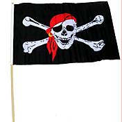 Apoyos 30 * 45 del funcionamiento del partido de Halloween con la bandera de pirata de la vara piratea la bandera roja del cráneo del