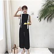 Mujer Casual Diario Casual Verano Tank Top Pantalón Trajes,Escote Redondo Un Color A Rayas Sin Mangas Microelástico