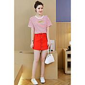Mujer Simple Casual Verano T-Shirt Falda Trajes,Escote Redondo A Rayas Manga Corta Microelástico