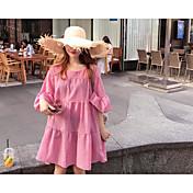 Mujer Túnica Vestido Noche Casual/Diario Un Color Escote Redondo Midi Media Manga Algodón Poliéster Primavera Verano Tiro Medio