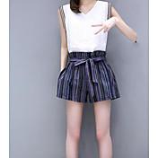 Mujer Casual Diario Casual Verano T-Shirt Pantalón Trajes,Escote en Pico Un Color A Rayas Sin Mangas Microelástico