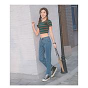 Mujer Sencillo Alta cintura Microelástico Vaqueros Pantalones,Holgado Corte Ancho Un Color Sexy Color puro