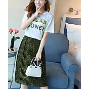 Mujer Moderno / Contemporáneo Casual/Diario Primavera T-Shirt Falda Trajes,Escote Redondo Floral Estampado Manga Corta