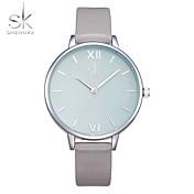 SK Mulheres Relógio de Moda Relógio de Pulso Chinês Quartzo Resistente ao Choque Mostrador Grande PU Banda Casual Luxuoso Cinza